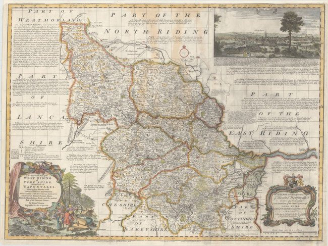 England  West Riding – 1750 – Bowen - Rare Old Maps for Sale