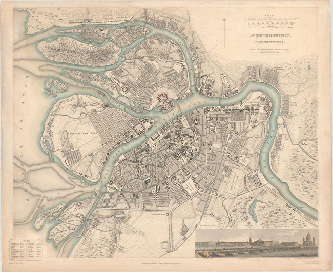 St. Peterburg, Russia – 1834 - Rare Old Maps for Sale