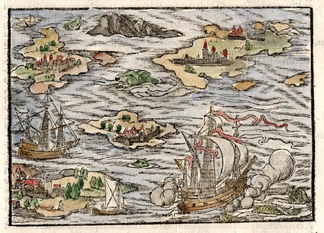 22.00 Woodblock Sea Battle- Rare Old Map for Sale
