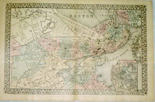 368-23 Plan of Boston - 1878- Rare Old Maps and World Prints for Sale