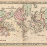 700.15 World on whole - Mitchell - 1860- Antique Rare Old Maps for Sale