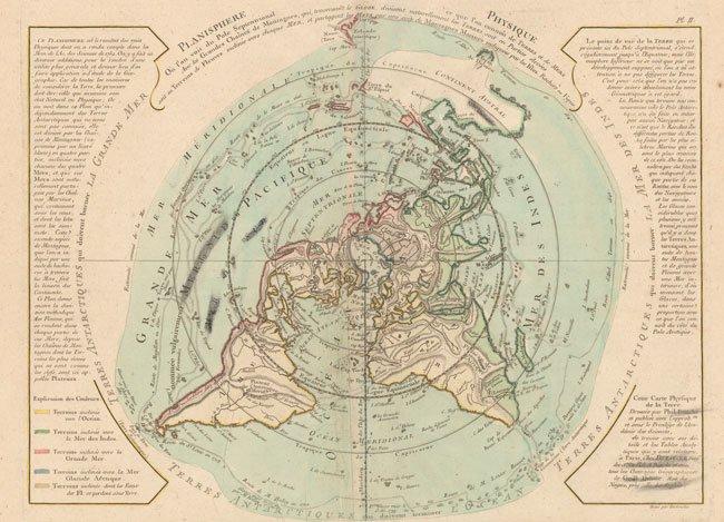 700.08 - Planisphere Physique Ou l'n Voit du Pole Septentrional ce que l'on Connoit de Terres et de Mers .... ca 1750, by Philippe Buache / J. A. Dezauche, Paris