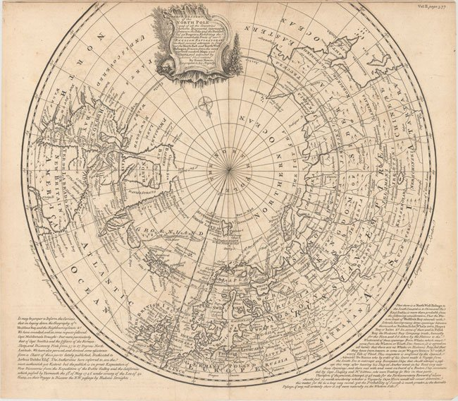 700.13 North Pole - 1748 - Bowen- Rare Old Maps for Sale