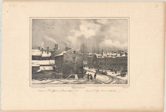 22.14 Antique Print of New York City - French - Melbert - 1870 for Sale