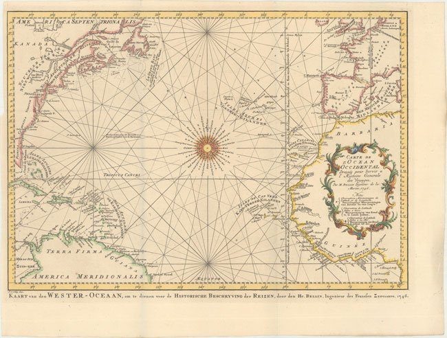 70007 Rare Old Map Of Atlantic Ocean