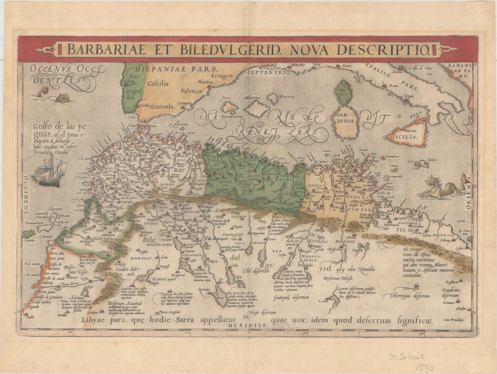 800.07 Mediterranean - 1595 - Ortelius-zoom- Rare Old Maps for Sale